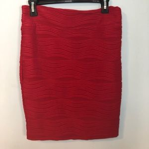 Red Tight Fit Wavy Skirt